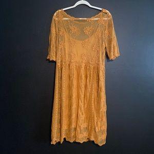 Mustard lace midi dress